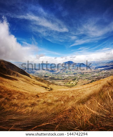 Ecuador, South America. View from the Cotacachi Volcano,13000ft (4000m), towards the Imbabura mountain and Cotacachi City. - stock photo