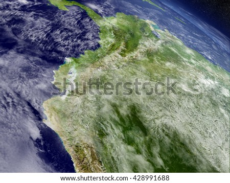 Ecuador with surrounding region as seen from Earth's orbit in space. 3D illustration with highly detailed planet surface and clouds in the atmosphere. Elements of this image furnished by NASA. - stock photo