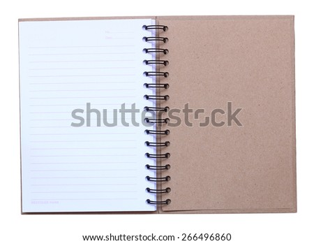 ecycle paper notebook last page on white background - stock photo