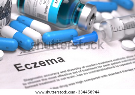 Eczema - Printed Diagnosis with Blurred Text. On Background of Medicaments Composition - Blue Pills, Injections and Syringe. - stock photo