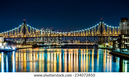 Ed Koch bridge (aka Queensboro bridge) as viewed by night from Roosevelt Island bridge in Queens, New York - stock photo
