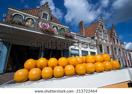 edam country famous for its cheese market amsterdam holland - stock photo