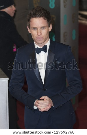 Eddie Redmayne arriving for the EE BAFTA Film Awards 2013 at the Royal Opera House, Covent Garden, London. 10/02/2013 Picture by: Simon Burchell