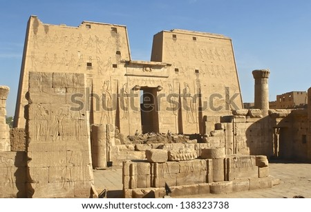 EDFU, EGYPT-NOV 25:The main entrance of Edfu Temple that dedicated to the falcon god Horus, was built in the Ptolemaic period between 237 and 57 BCE. Nov. 25, 2007 in Edfu, Egypt.