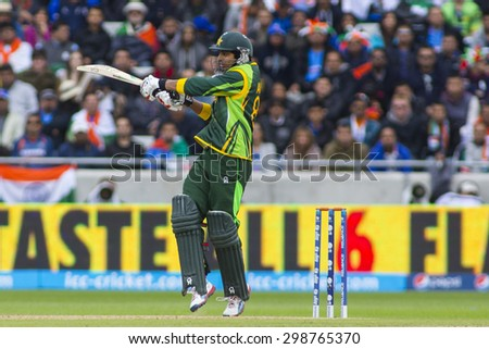 EDGBASTON, ENGLAND - June 15 2013: Pakistan's Umar Amin batting during the ICC Champions Trophy cricket match between India and Pakistan at Edgbaston Cricket Ground.