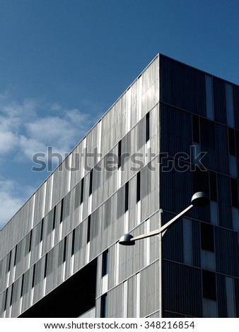 Edge of modern building on sky background