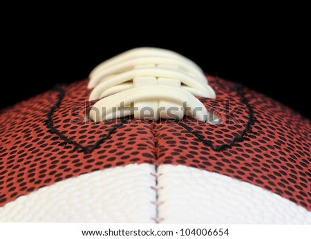 Edge on macro of a football threads isolated on black
