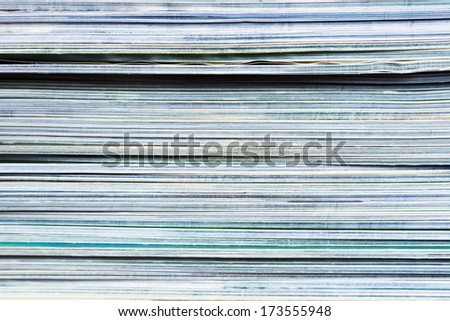edge view of a pile of magazines