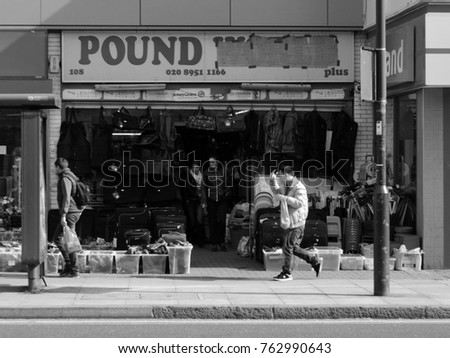 Edgware, London - 03/31/16: Bargain shop on Station Road.