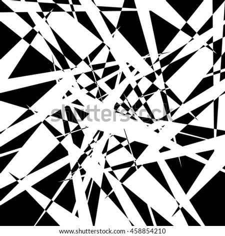 Edgy geometric element, random shape. Abstract monochrome illustration.
