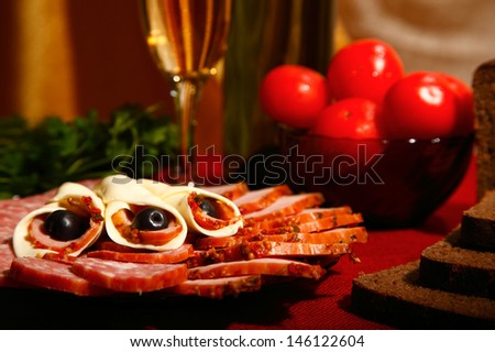 edible still life. variety of food on table - stock photo