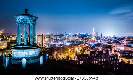Edinburgh at night view from Calton Hill - stock photo