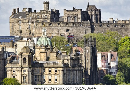 Edinburgh Castle and Old Town  - stock photo