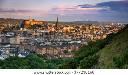 Edinburgh castle and the city panoramic view from top of the arthur seat.
