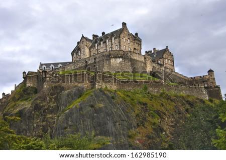 Edinburgh castle in a cloudy day, Scotland. - stock photo