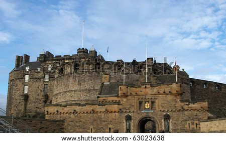 Edinburgh castle in Scotland, Great Britain, United Kingdom - stock photo