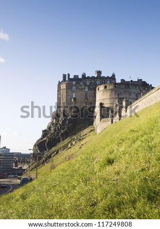 Edinburgh Castle in Scotland in a sunny afternoon - stock photo