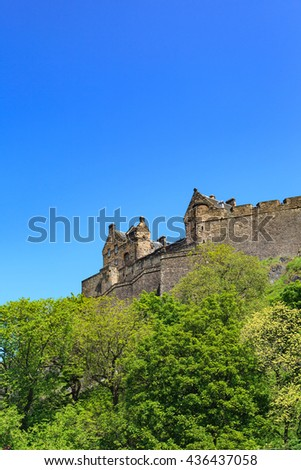 Edinburgh Castle on a beautiful clear sunny day - stock photo