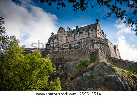 Edinburgh Castle on sunny day with blue sky, Scotland, United Kingdom - stock photo
