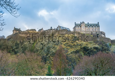 Edinburgh Castle, the iconic historic fortress that dominates the skyline of the city of Edinburgh, Scotland, from its position on the Castle Rock.