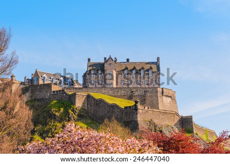 Edinburgh Castle under a clear sky - stock photo