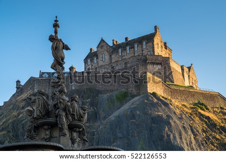Edinburgh Castle view from Princess Street Gardens at sunset. Scotland, United Kingdom