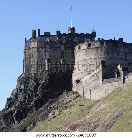Edinburgh castle with blue sky Scotland - stock photo