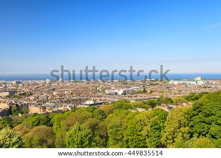 Edinburgh city aerial view as seen from Nelson monument - stock photo