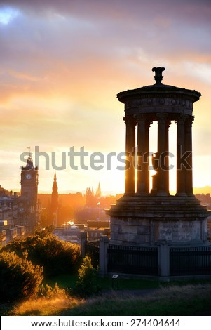 Edinburgh city skyline viewed from Calton Hill. United Kingdom. - stock photo