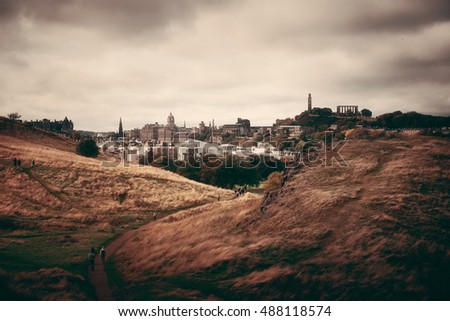 Edinburgh city viewed from top of Arthur's Seat in Holyrood Park