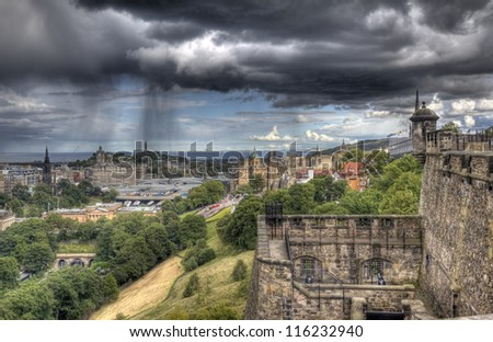 Edinburgh cityscape from Edinburgh Castle in Scotland, UK - stock photo