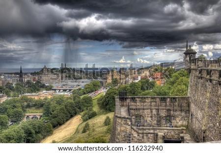 Edinburgh cityscape from Edinburgh Castle in Scotland, UK - stock photo