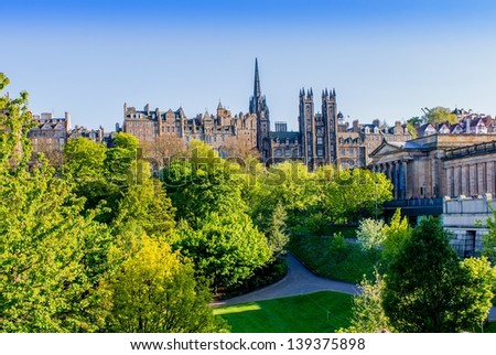 Edinburgh from the Princes Street gardens.  - stock photo
