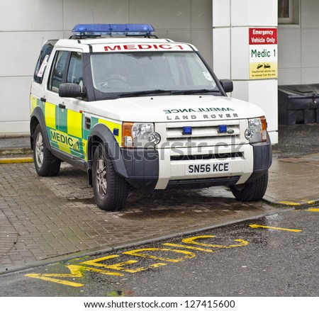 EDINBURGH - JANUARY 13: A Land Rover medic vehicle on January 13, 2013 in Edinburgh, Scotland. Land Rover is the second oldest 4 wheel drive car brand in the world and has 13,000 employees worldwide. - stock photo