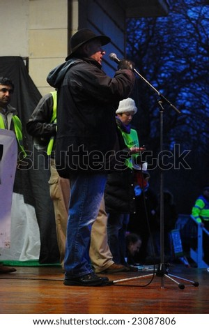 EDINBURGH - JANUARY 10: A speaker on stage at the anti-Israel rally in Princes Street Gardens January 10th, 2009 in Edinburgh, Scotland.