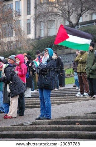 EDINBURGH - JANUARY 10: Protesters gather in Princes Street Gardens for the anti-Israel rally January 10th, 2009 in Edinburgh, Scotland.