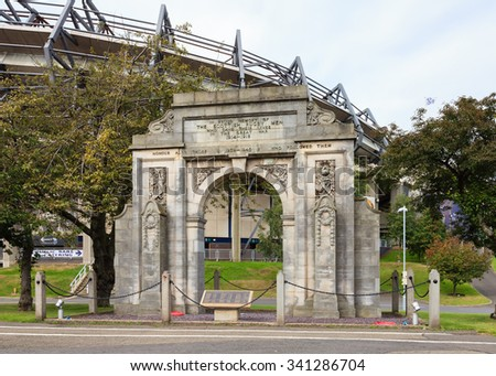 "EDINBURGH, SCOTLAND - AUGUST 2015:  Beside Murrayfield, a sports stadium, is a war memorial to ""the Scottish rugby men"" who gave their lives in the two World Wars.  It is pictured on August 29, 2015."