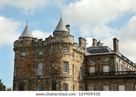 Edinburgh, Scotland - AUGUST 30: Holyrood palace on August 30, 2013 in Edinburgh. Holyrood Palace, the official residence of the Monarch of the United Kingdom in Edinburgh, Scotland - stock photo