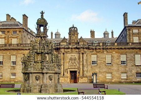 EDINBURGH, SCOTLAND - CIRCA NOVEMBER 2012: Forecourt fountain and entrance to the Holyrood Palace