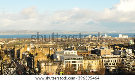 Edinburgh, Scotland - December 23, 2015: Panoramic view of the roofs of medieval buildings in Edinburgh in  Scotland, UK