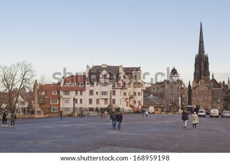 EDINBURGH, SCOTLAND - DECEMBER 10, 2012: View of old Edinburgh from the Castle - stock photo