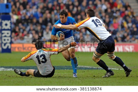 EDINBURGH, SCOTLAND-FEBRUARY 25, 2007: italian rugby player Gonzalo Canale in action, during the Six Nations rugby match Scotland vs Italy, at the Murrayfield stadium, in Edinburgh.