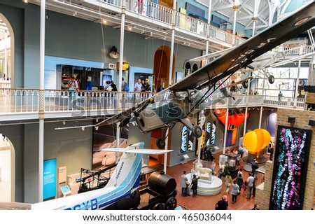 EDINBURGH, SCOTLAND - JULY 17, 2016: Airplane in the transport area of the National Museum of Scotland. It was renovated in 2011