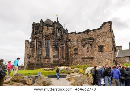 EDINBURGH, SCOTLAND - JULY 17, 2016:  Edinburgh Castle. The Castle was involved in many historical conflicts since 14th century