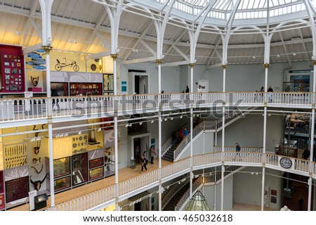 EDINBURGH, SCOTLAND - JULY 17, 2016: Grand Gallery of the National Museum of Scotland. It was renovated in 2011