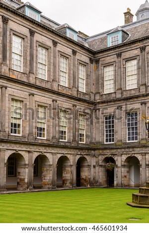 EDINBURGH, SCOTLAND - JULY 18, 2016: Yard of the Palace of Holyroodhouse, the official residence of the British monarch in Scotland