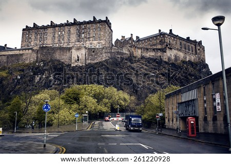EDINBURGH, SCOTLAND - MAY 06, 2014: Edinburgh Castle on Castle Rock. City view of Edinburgh. Edinburgh is the capital city and second most populous city in Scotland - stock photo