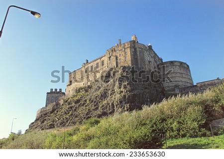 EDINBURGH, SCOTLAND - OCTOBER 01, 2014:  Panoramic view on Edinburgh Castle , Scotland, UK - stock photo