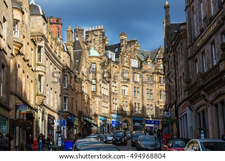 Edinburgh, Scotland - September 10, 2016: Cockburn Street with unidentified people. Its a picturesque street in the Old Town, created as a serpentine link from Royal Mile to Waverley Station in 1856