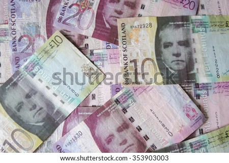 EDINBURGH, SCOTLAND, UK - CIRCA AUGUST 2015: Scottish sterling pound banknotes, currency of Scotland